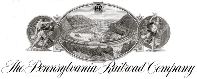Pennsylvania Railroad stock certificate, depicting Horseshoe Curve in Altoona