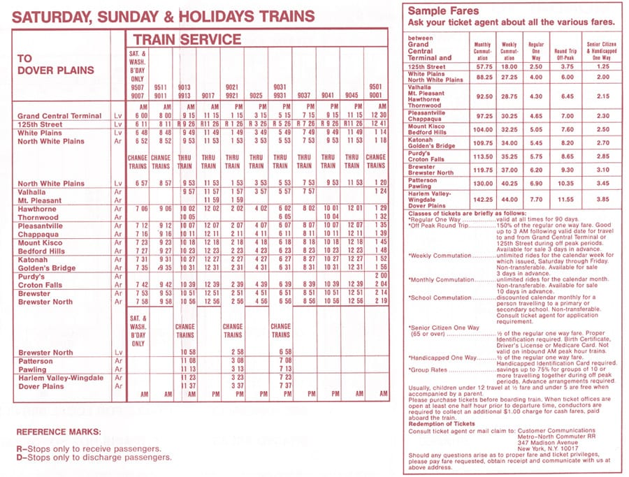 metro north train fares and schedule
