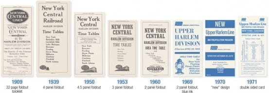 Upper Harlem Timetables over the years