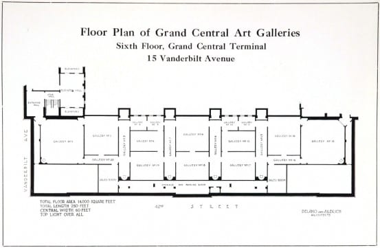 Floor plan of the Grand Central Art Galleries