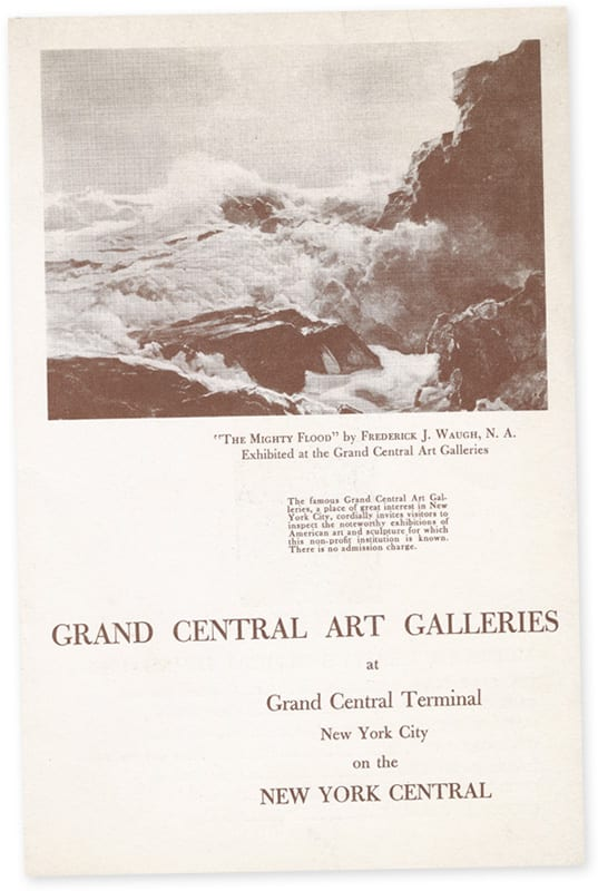 Ad for the Grand Central Art Galleries on a menu