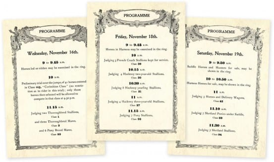 Program for the 1898 National Horse Show