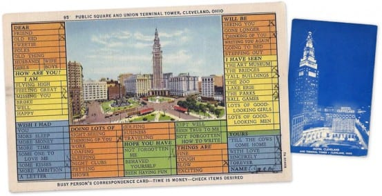 Postcard and matchbook from Union terminal