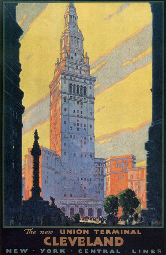 1930 poster of Cleveland Union Terminal by Leslie Ragan