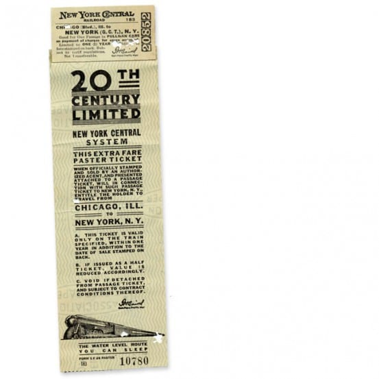 Ticket from the 20th Century Limited