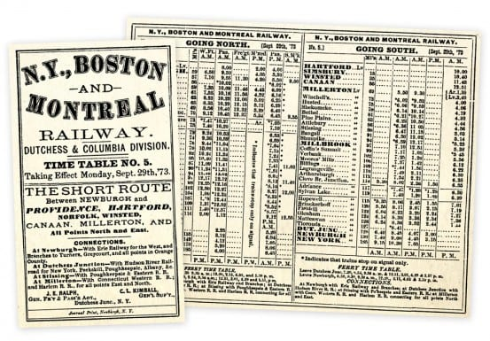 Timetable which shows Lagrange station from 1873