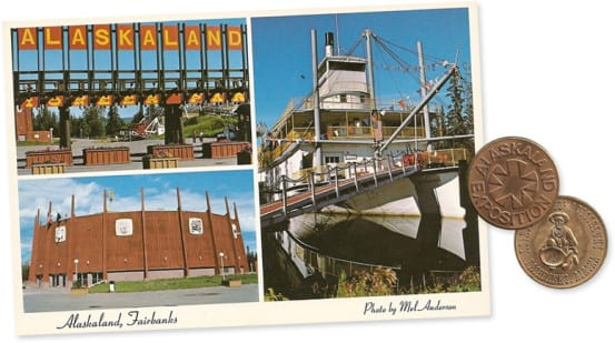 Postcard from Alaskaland, and token from the centennial exposition