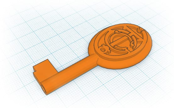 The key was modeled in 3D using Tinkercad