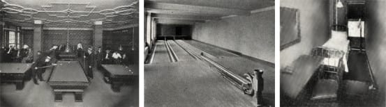 Billiards, Bowling lanes, and a typical bunk room