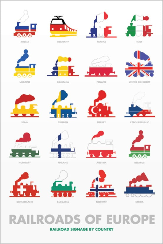 Railroad pictographs of Europe