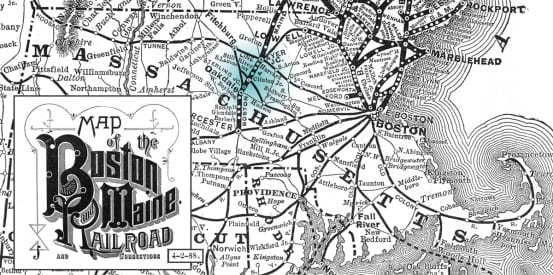 1888 Boston and Maine Map, highlighting Clinton