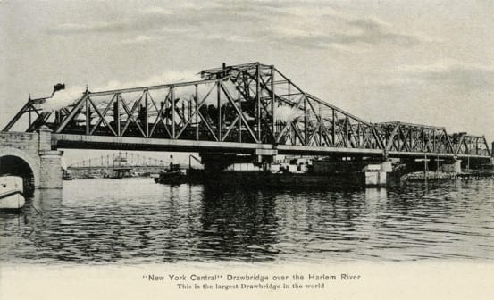 The 1891 swing bridge over the river
