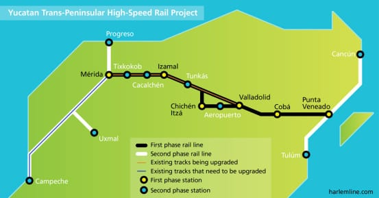Map of the proposed high speed rail line