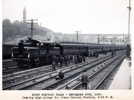 The first electric train leaves High Bridge for Grand Central Station