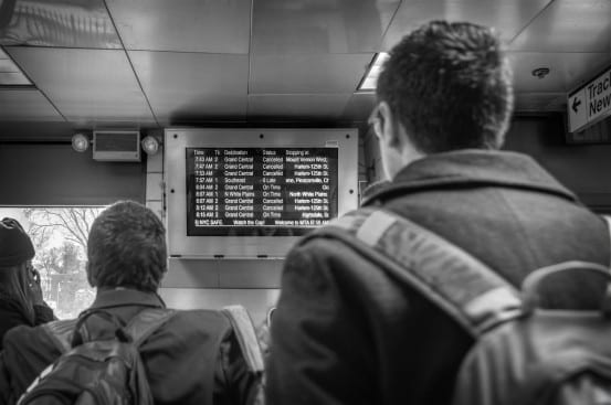 Departure board at White Plains