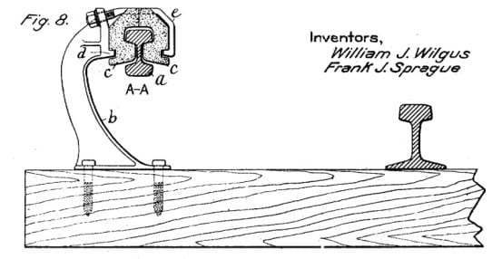 Drawing of the bottom contact third rail, from the patent documentation.