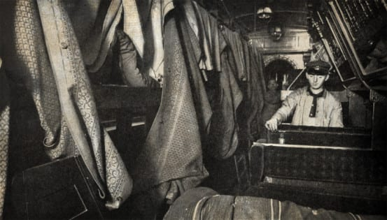 A sleeping car which carried an ill person is prepped for formaldehyde gas treatment