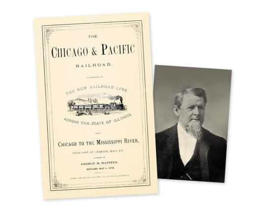 One of the early publications by Daniels for the Chicago & Pacific, and his photo from 1889