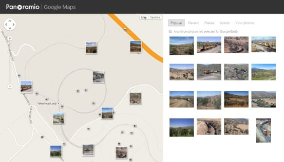 A map search showing all the photos taken of Tehachapi Loop in California, showing where each photographer was standing