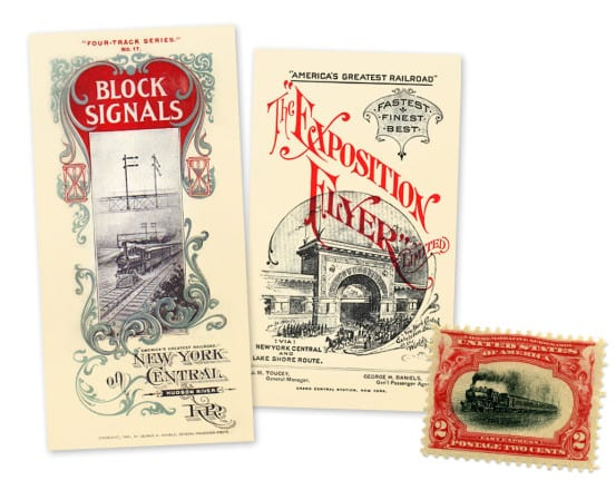 Brochures published by Daniels during his tenure as General Passenger Agent, and the special stamp featuring the Empire State Express