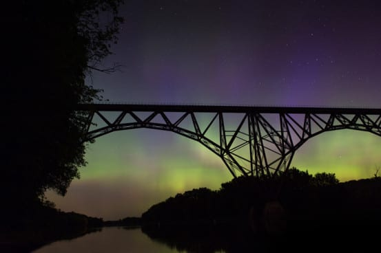 Northern Lights over the Midwest's High Bridge