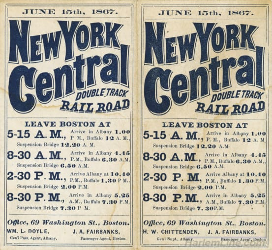 1867 New York Central timetable