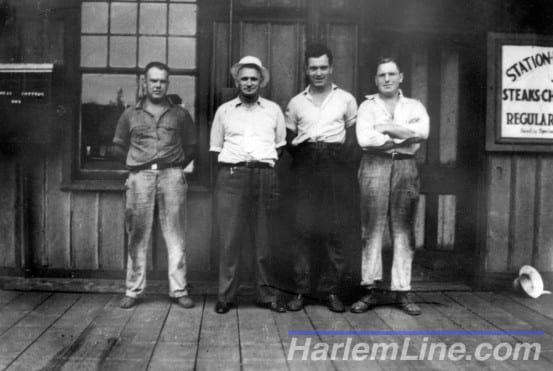 "1936 Signal Dept Gang- Sid Phillips, Tom Wright, Lou Frost, and ""Mac"" McLeod"