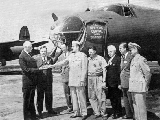 "Dedication of the ""New York Central System"" bomber"