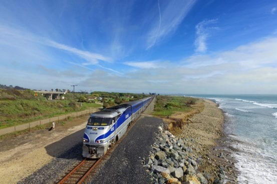 The Pacific Surfliner sails through Emma Wood State Beach in Ventura