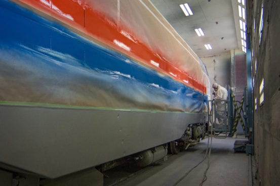 710 gets painted at the Beech Grove shops