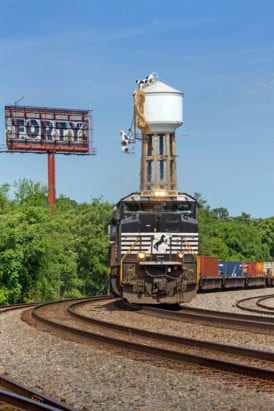 Norfolk Southern passes the Chick-Fil-A water tower in Atlanta