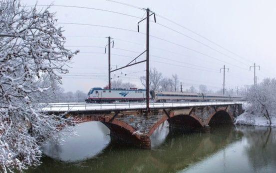 Snow falls on the Keystone Corridor in Middletown