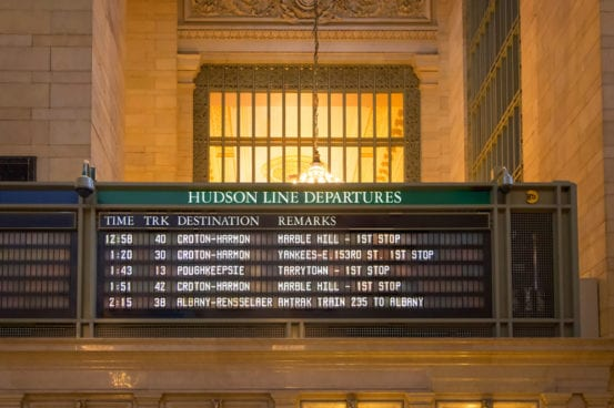 On the departure board at Grand Central Terminal