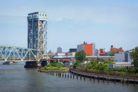 Approaching the Harlem River Lift Bridge from the Bronx