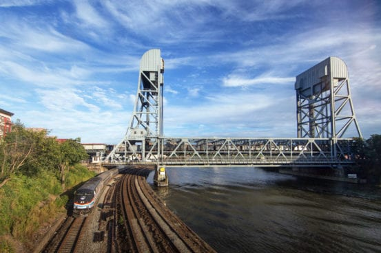 All done. The final Grand Central rerouted Amtrak train passes under the Broadway Bridge.