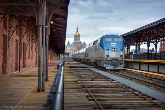 4f2c1750c6 One of my favorite spots to catch Amtrak's New Haven to Springfield line is  this one at the historic Hartford Union Station. This shot from early April  ...
