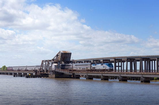 City of New Orleans crosses the Manchac Bridge