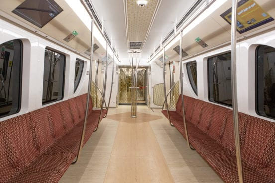 Inside regular class on the Doha Metro