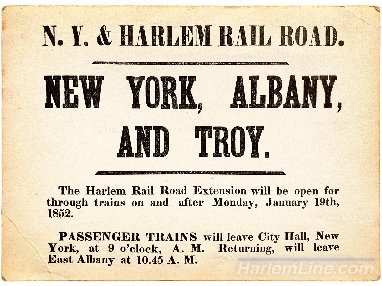 The New York & Harlem finally arrives to Chatham, from the collection of Dave Saums