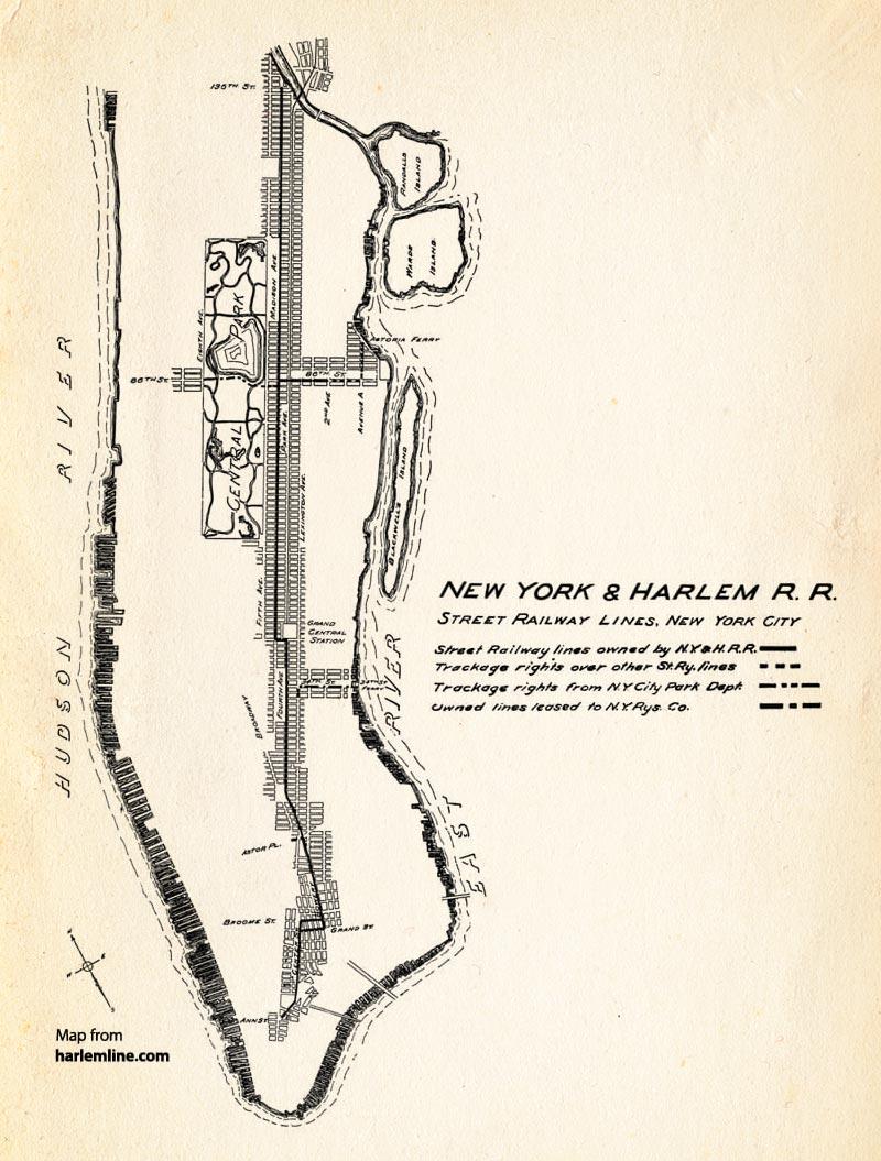 Map of the New York & Harlem's street railway lines