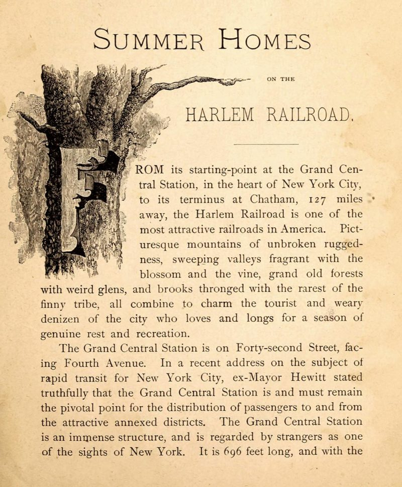 An introduction to 1890's Summer Homes on the Harlem Railroad booklet