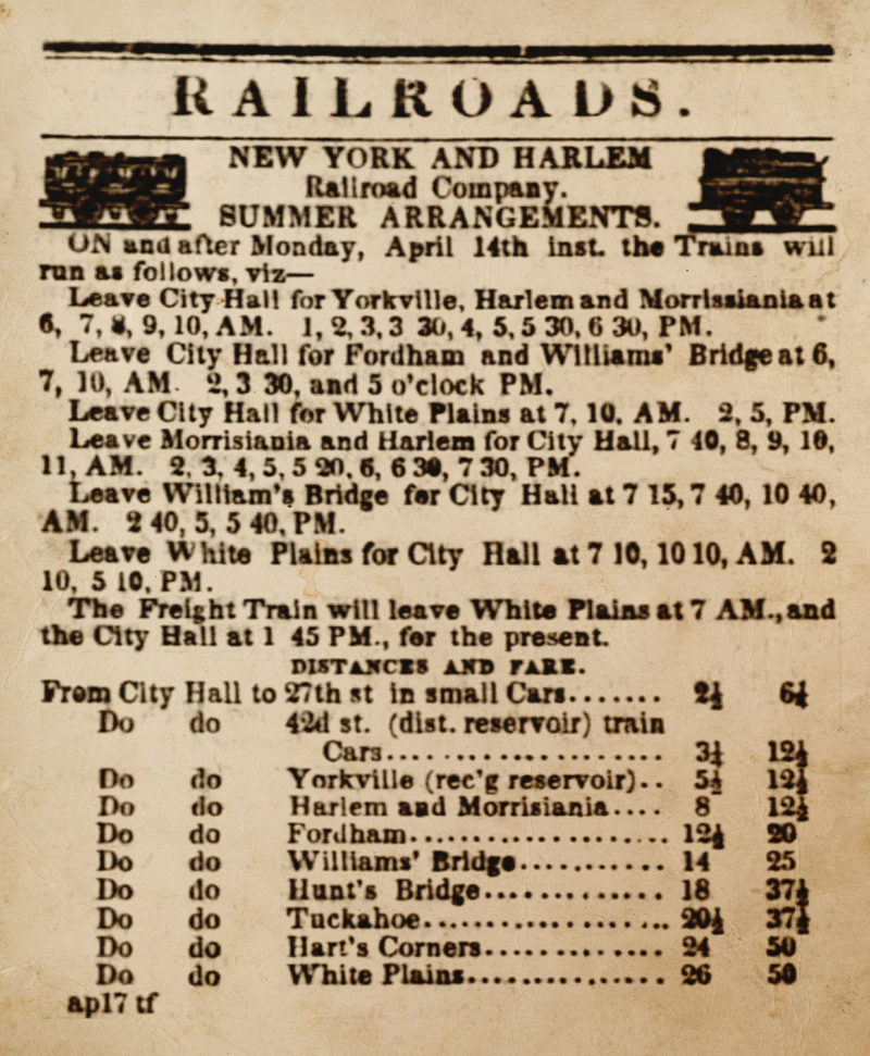 Summer 1845 timetable showing fares on the New York and Harlem railroad