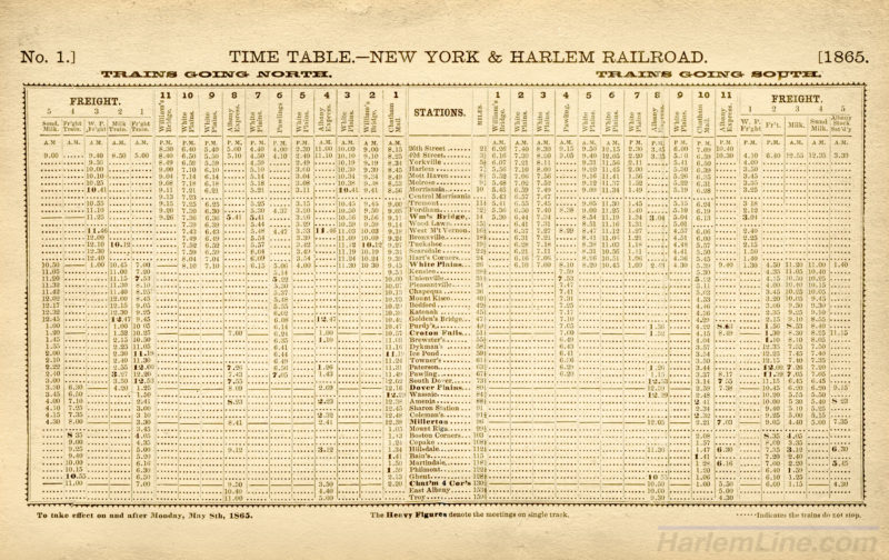 New York & Harlem Railroad Timetable #1, 1865