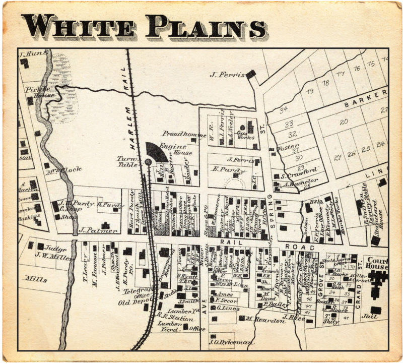 1867 map showing the railroad's route through White Plains