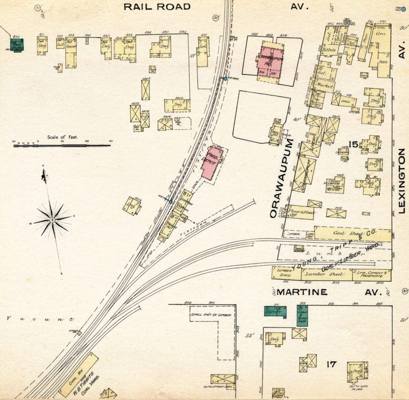 1885 map showing the White Plains depot and industry tracks