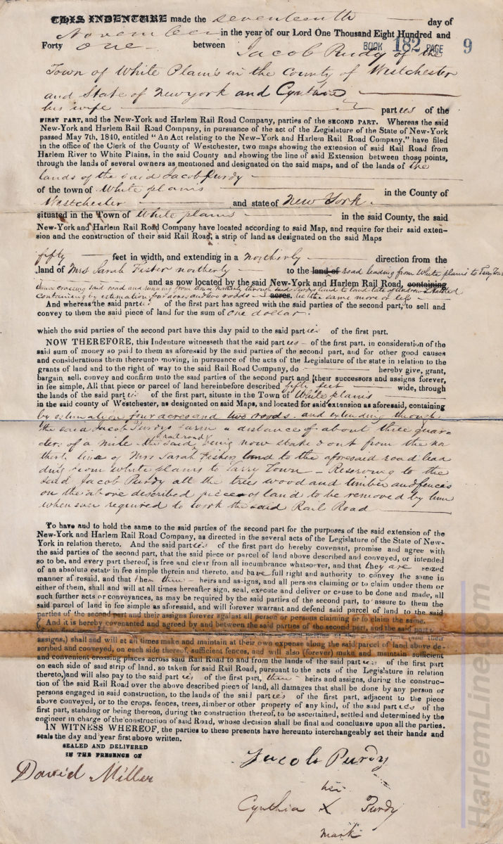 Land agreement between Jacob Purdy and the New York and Harlem Railroad Company