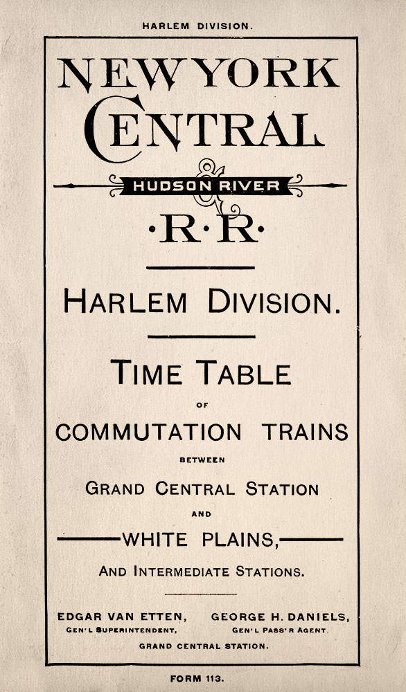 One of the first timetables for White Plains commutation trains