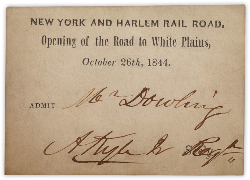 Ticket for the celebratory ride marking the opening of the railroad to White Plains, from the Museum of the City of New York