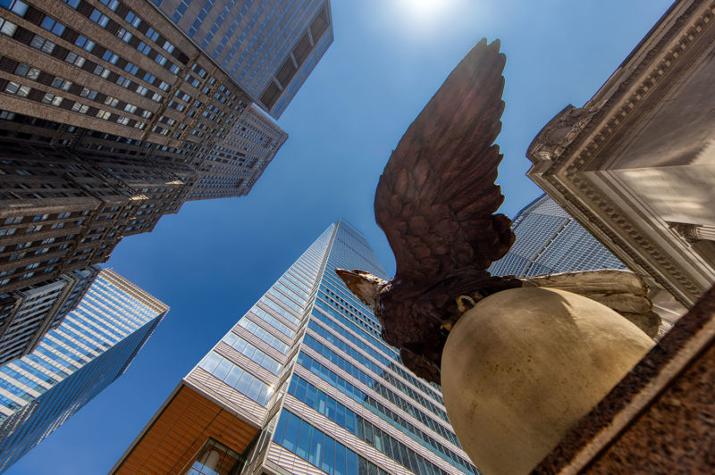 The eagle from the previous Grand Central in front of the new One Vanderbilt