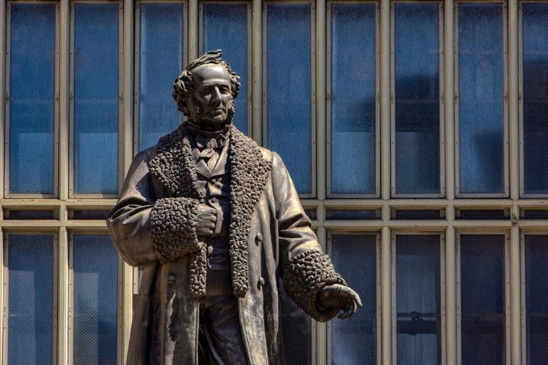 The statue of Cornelius Vanderbilt atop the Park Avenue Viaduct
